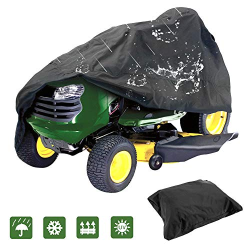 IC ICLOVER Lawn Tractor Cover, Outdoors Riding Lawn Mower Cover Fits Decks up to 44'' Made with 210D Polyester Oxford Heavy Duty Durable UV and Water Resistant All Season Protection with Drawing Cord by IC ICLOVER