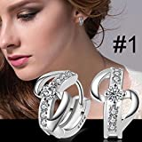 Sumanee Fashion Womens Crystal 925 Silver Plated Ear Stud Hoop Earrings Jewelry Gifts 9 style (#1)