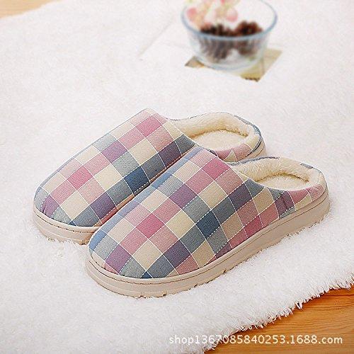 Hiver paquet En Intérieur Xing Plaid Semi Guang Coton Seam Pantoufles redbluegrid Side Chaud Gros Nouvelle Maison Pinkbluegrid Couple 5XnS6znxg