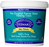Stewart Freeze Dried Beef Liver Dog Treats, Grain Free, All Natural, Made in USA by Pro-Treat, 14 oz., Resealable Tub