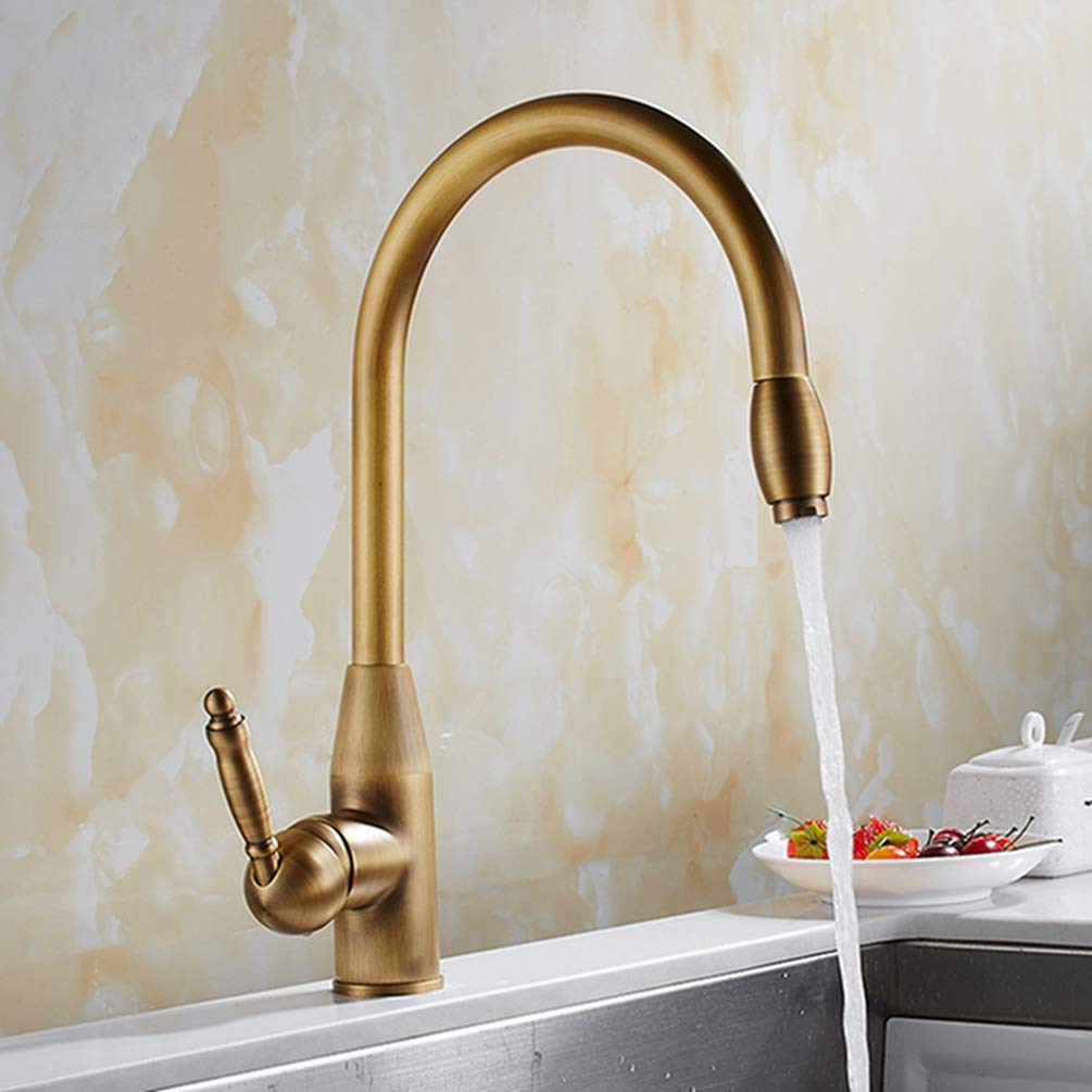 FZHLR Antique Brass Kitchen Faucet Pull Out Kitchen Sink Hot Cold Water Mixer Tap Single Lever Stream Sprayer Kitchen Faucet 360 Degree Swivel by FZHLR (Image #4)