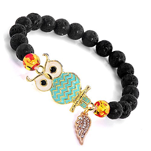 Meenanoom Men Women's Natural Black Lava Stone Beads 8mm Owl/Hamsa Hand Charm (Owl Beads Bracelet)