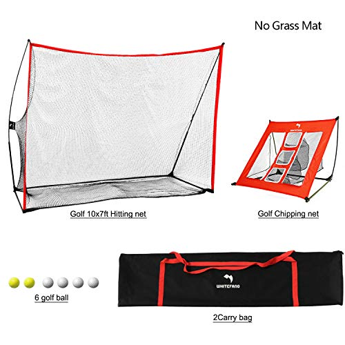 WhiteFang Golf Net | 3 in 1 Golf Practice Set 10x7ft Include Golf Chipping Net|Golf Balls with Portable Carry Bag for Backyard/Indoor/Outdoor (Just Net No Mat)