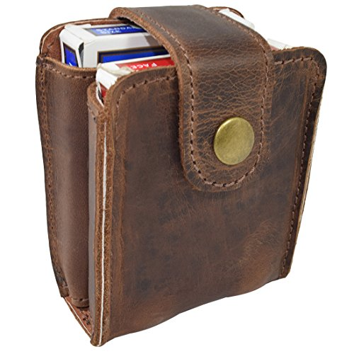 Hide & Drink, Rustic Leather Double Deck Holder/Board Games Card Case Handmade :: Bourbon Brown