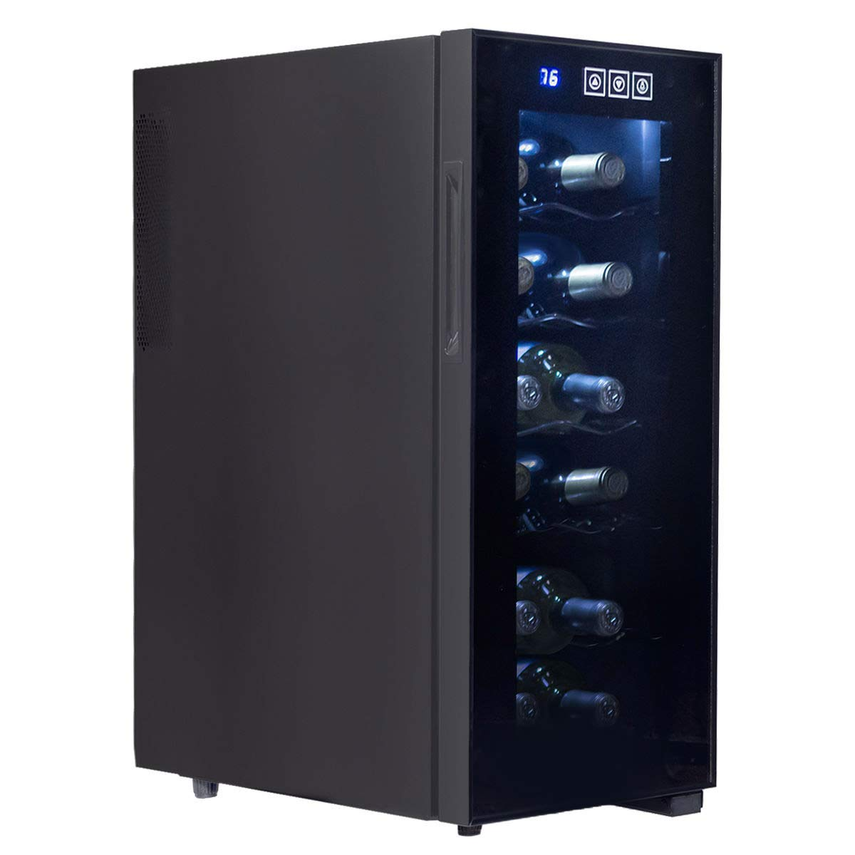 KCHEX>12 Bottle Thermoelectric Wine Cooler Freestanding Temperature Display Glass Door>This is our brand new and professional 6 bottles Thermoelectric wine cooler, which is perfect for storing your