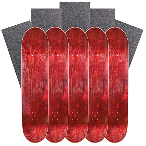 (Cal 7 Blank Maple Skateboard Decks with Grip Tape (Bundle of 5) (Red, 8.5 inch))