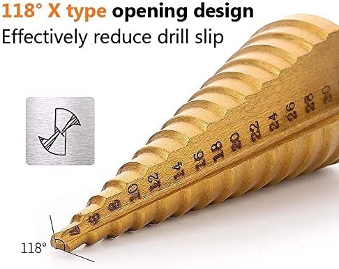 3pcs 1/4 Hss Step Cone Taper Drill Bit Set Hole Cutter Metric Titanium Coated Metal Hex Stepped Drill Bits 4-12/20/32mm (Color : 3PC(4 12 3 12 4 20)) 3pc(4 12 3 12 4 20)
