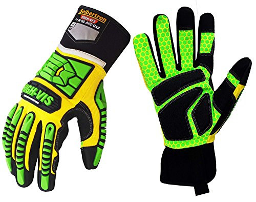 Seibertron HIGH-VIS SDXG2 Dexterity Super Grip GEL Oil & Gas Anti-Vibration Impact Protection Safety Gloves CE EN388 4131 S by Seibertron