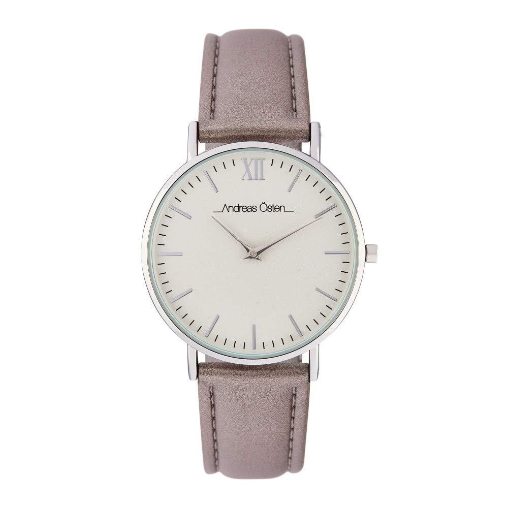 Montre Femme Andreas Osten à Quartz Cadran Blanc 36mm Et Bracelet Argenté En PU AOS18005