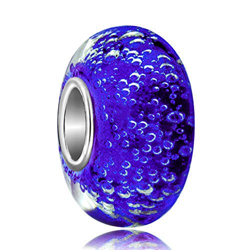 Third Time Charm 925 Sterling Silver Sapphire Blue Bubbles Murano Glass Charm Beads For Bracelets