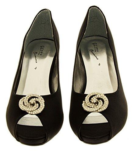 Footwear Studio - punta abierta de forro: fibra sintética mujer Satén Negro