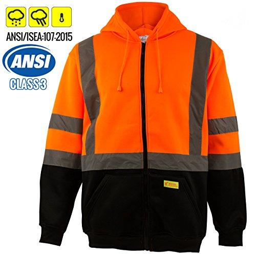 New York Hi-Viz Workwear H9011 Men's ANSI Class 3 High Visibility Class 3 Sweatshirt, Full Zip Hooded, Lightweight, Black Bottom (2-XL)