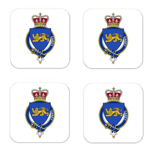 Carey Carrie Ireland Family Crest Square Coasters Coat of Arms Coasters - Set of 4 ()
