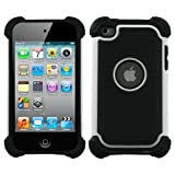 Snap-On Protector Hybrid Hard Silicone Skin Case Cover compatible with Apple iPod Touch 4G, 4th Generation, 4th Gen - White/Black