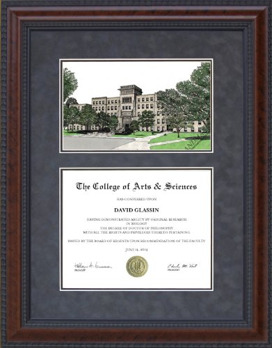 Diploma Frame with Licensed Bradley University Campus Lithograph - 18 x 24 vertical (portrait) diploma