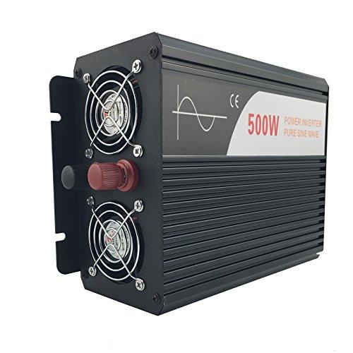 Xijia 500W (Peak 1000W) Pure Sine Wave power Inverter DC 12V 24V 48V to AC 120V 60HZ Solar converter For Home Use car (DC 24V to AC 120V)