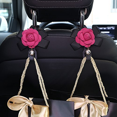 (eing Car Seat Back Hooks Hangers Organizer with Camellia Flowers 2pcs Headrest Mount Storage Hooks Clips Styling Car Accessories,Rose Red Flower)