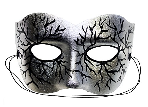 Success Creations Volt Silver Hand-Painted Masquerade Mask by Success Creations