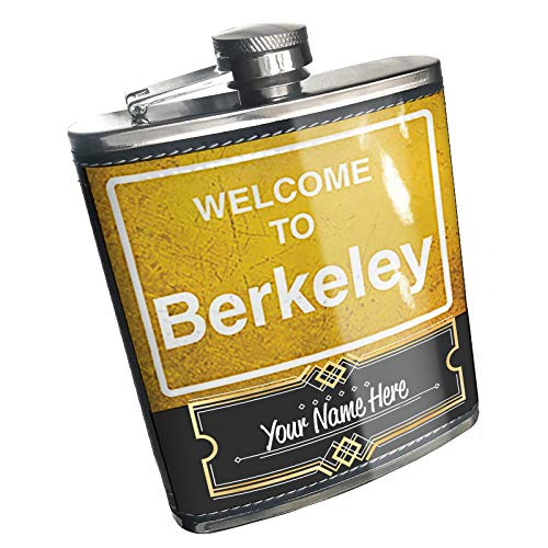 Neonblond Flask Yellow Road Sign Welcome To Berkeley Custom Name Stainless Steel