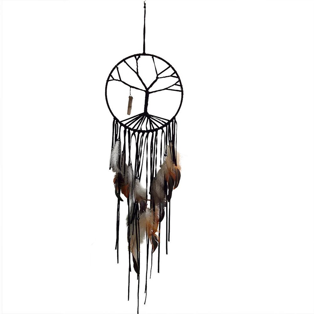 Accreate Grace Life Tree Feather Wind Chime Dream Catcher Home Wall Hanging Decor (Black)
