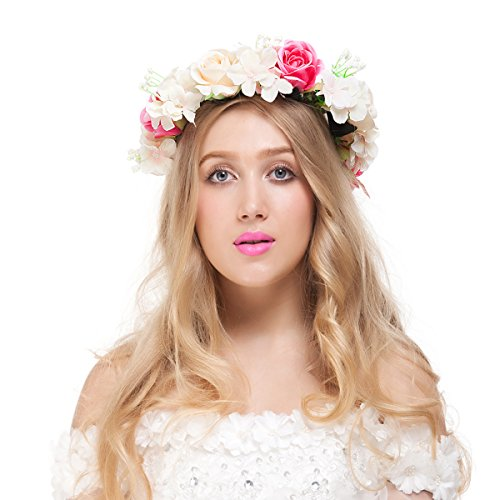 (Valdler Champagne Rose Flower Crown for Festival Wedding Party (1)