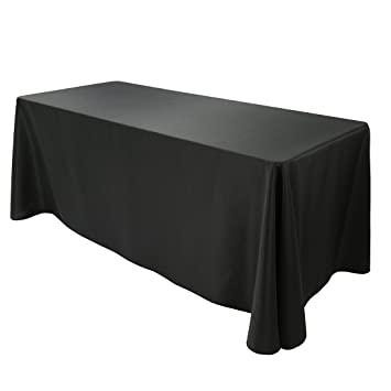 Captivating Amazon.com: E TEX 90x132 Inch Polyester Oblong Tablecloth Fit For 6Ft.  Rectangular Table Black: Home U0026 Kitchen