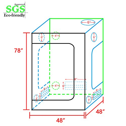 """513T2T%2BG4iL - Quictent Eco-friendly 48""""x48""""x78"""" Reflective Mylar Hydroponic Grow Tent with Heavy Duty Anti-burst Zipper and waterproof Floor Tray for Indoor Plant Growing 4'X4' SGS Approved"""