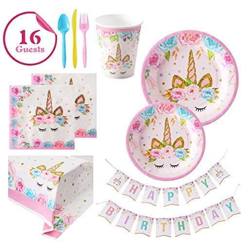 Unicorn Party Supplies Set For Birthday - Set of 16 Including Cake Plates, Cups, Napkins, Tableware, Table Cover, Birthday Banner, Magical Fantasy Birthday Decoration for Girls -