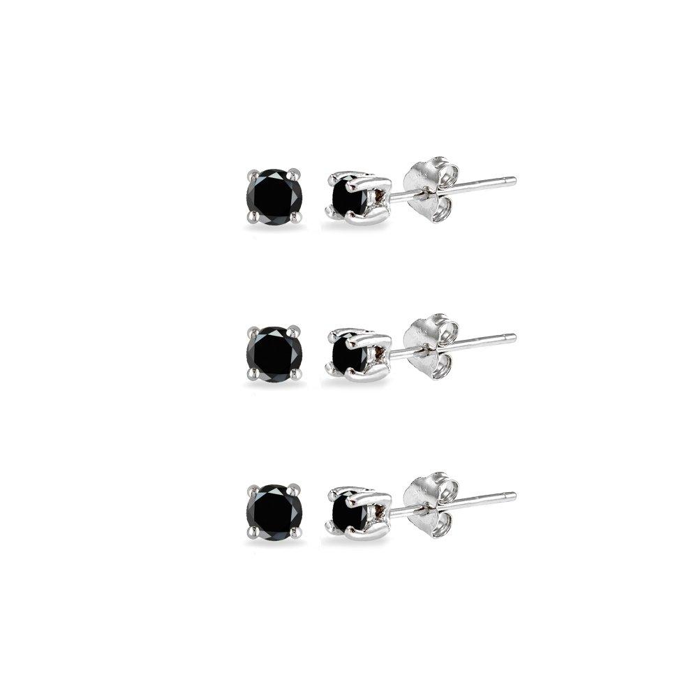 3-Pair Set Sterling Silver Black Sapphire 2.5mm Round Stud Earrings
