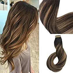 Labhair Tape In Hair Extensions Highlighted Real Human Hair Balayage Color Hair Extensions Chocolate Brown Mixed Honey Blonde Remy Tape in Human Hair Extensions 20pcs/50g 14""