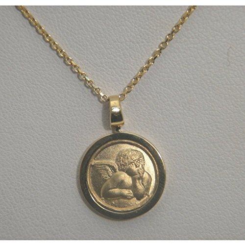Collier pendentif or jaune 18carats-Pendentif Médaille avec ange en relief-Fermeture moshettone