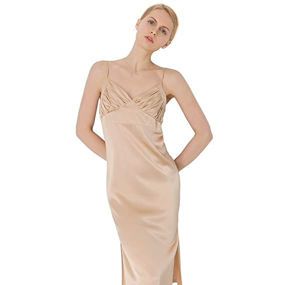 3b4ff57a00c8 LILYSILK Ladies 100 Pure Silk Cami Dress Sleeveless Midi Length Party Dress  Light Camel Size XXL: Amazon.co.uk: Clothing