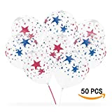 12 Inch Latex Party Balloons,(decoration theme Red White and Blue Stars on Clear Latex Balloons for any season) -[ 50 accounts]