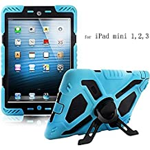 Y&M(TM) Ipad Mini Case,Extreme Military Heavy Duty Waterproof Dust/Shock Proof with stand Hang Cover Tablets Hybrid Hard Army Case For iPad Mini1/Mini2/Mini3 blue/black