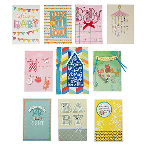 Hallmark Baby Shower Card Assortment (10 Congratulations Cards with -