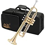 Jean Paul, TR-550CC Trumpet Bundle Gold Lacquer Finish, Key of Bb, Rose Brass, Yellow Brass, Stainless Steel, Contoured Carring Case