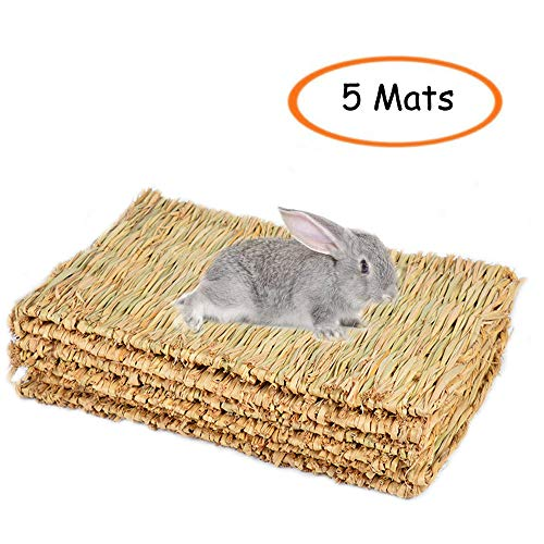 Grass Mat Woven Bed Mat for Small Animal Bunny Bedding Nest Chew Toy Bed Play Toy for Guinea Pig Parrot Rabbit Bunny Hamster Rat(Pack of 3) (5 Grass mats) (5 Grass mats) ()