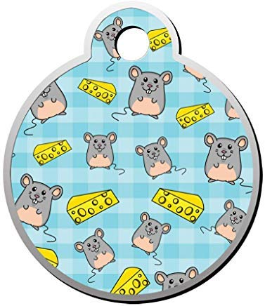 (uniquepig Hamster and Cheese Tablecloth Round Pet Id Tag Engraved,Personalized Pet Id Tag for Dogs for Cats)