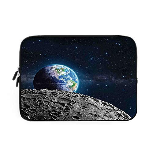 Galaxy Laptop Sleeve Bag,Neoprene Sleeve Case/View of Earth from Moon Surface Lunar Satellite Spacewatch Tracking Project/for Apple MacBook Air Samsung Google Acer HP DELL Lenovo AsusGrey DAR -  iPrint, BJBNDB_AD__07353_K39xG28