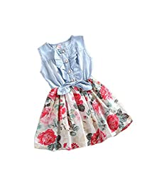 Misaky Little Girls Denim Floral Print Sleeveless Skirt Dresses 1-8 Years