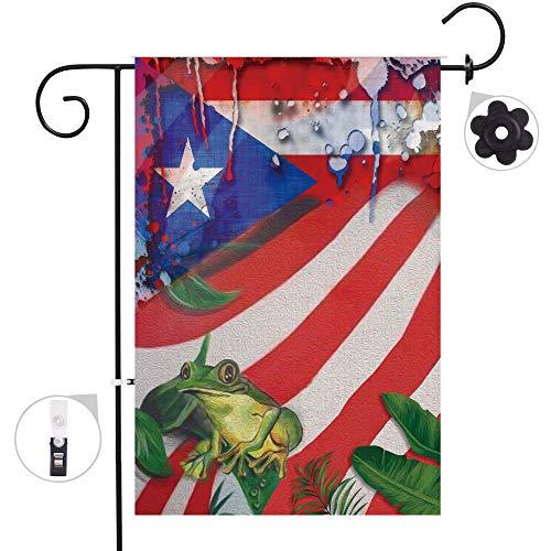 Bonsai Tree Puerto Rico Frog Seasonal Burlap Garden Flag Banner Decorative Outdoor Double Sided Yard Flag 12 x 18 - Puerto Rico Frog