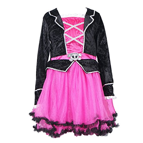 FantastCostumes Little Girl's Pink Pirate Tutu Princess Costumes Dress(Pink, (Pirate Tutu Costumes)
