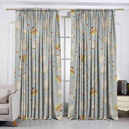 VIVIDX Doorway Curtain,Tea Party,Coffee Pot Teapot Spoons Plates and Creamy Slices of Cake with Cherries,Room Darkening Thermal,W55x72L Inches Bluegrey Red Green ()