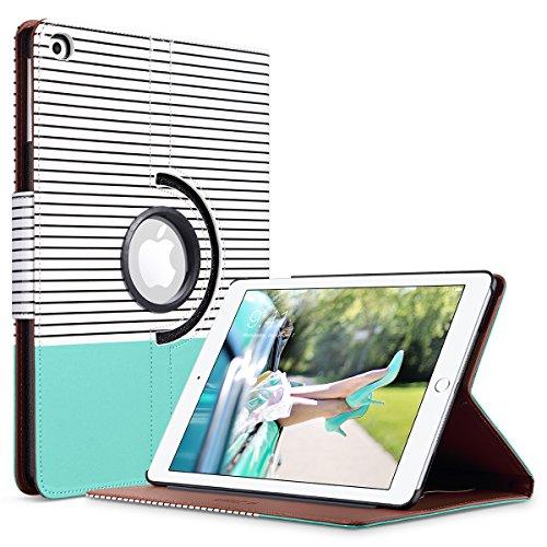 ULAK iPad 9.7 2018/2017 Case, Slim Lightweight 360 Rotating Folio Folding Stand Smart Cover Auto Wake/Sleep PU Leather Protective Case for iPad 9.7 Inch 2017/2018, Mint Minimal Stripes