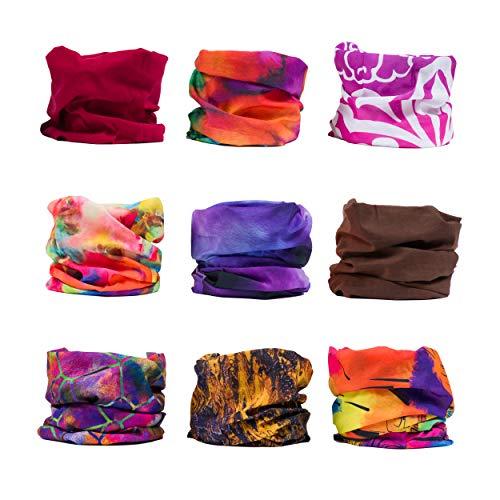 ERAN8 12-Pack or 9-Pack Seamless Sports Bandanas, Hair Buff, Wide Headbands for Women and Men, Workout, Yoga, Running, Fishing, Helmet Liner, Face Mask, Hair Scarf