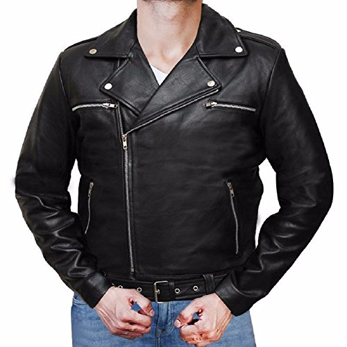 [Walking Dead Zombie Daryl Cosplay Leather Jacket Size Run Small (S)] (Daryl Dixon Costumes)