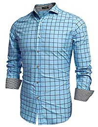 COOFANDY Men s Fashion Long Sleeve Plaid Button Down Casual Shirts Blue 31003c40d