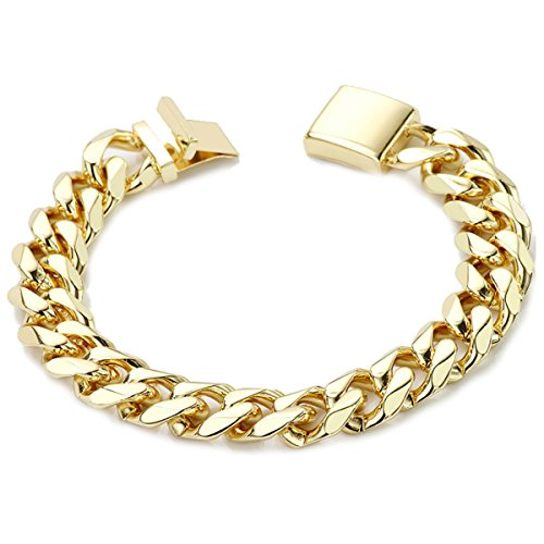Gold Filled 14kt Diamond cut Cuban Link Chain Bracelets 14.5 MM With and Warrantied USA Made! (9) 14kt Gold Curb Chain Bracelet