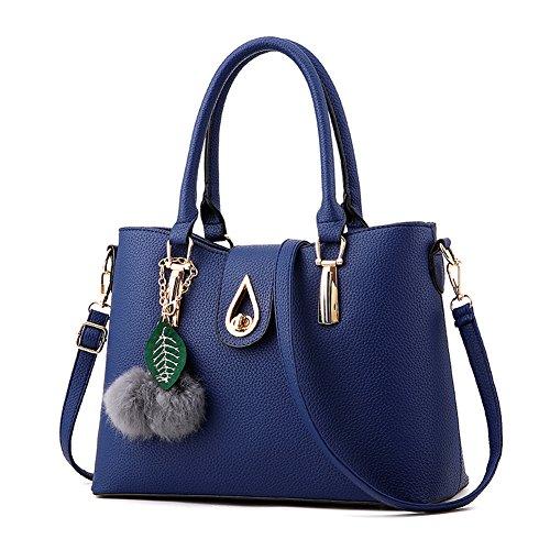 Covelin Women's Handbag Large Leather Crossbody Purse Tote Shoulder Bag Blue