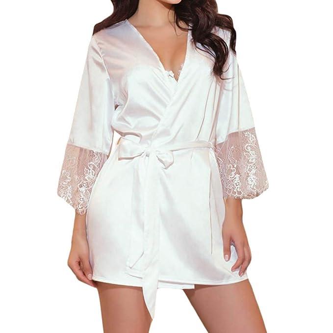Damas Kimono Moda Vintage Encaje Patchwork Camisa Clásico De Manga Larga Elegante Ocio Satén Cuello Pico con Cinturón Pijamas Ropa De Dormir Negro Batas ...